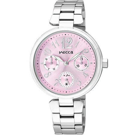 CITIZEN WICCA 甜蜜傳遞 三眼時尚腕錶-粉紅 BH7-415-91