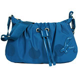 agnes b. 尼龍圓點束繩斜背包(藍)