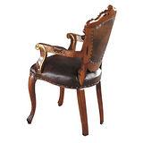 伯爵法式胡桃金邊扶手餐椅