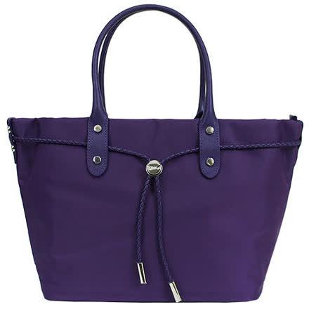 agnes b 帆布麻繩束袋手提包(小/紫)