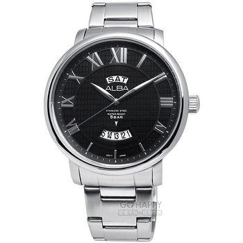 ALBA 羅馬時差條紋面不鏽鋼腕錶 銀X黑 44mm / AV3175X1.VJ43-X016D