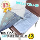 買二送一【Ice Cool】↓6℃降溫涼感多功能涼座(枕)墊3入組