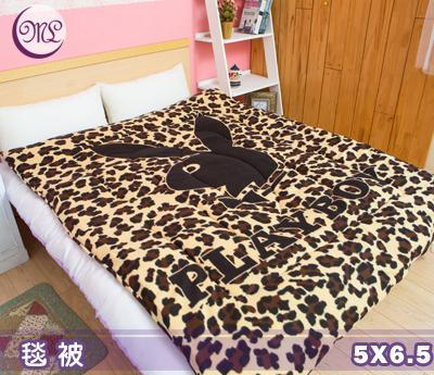 名流寢飾 PLAYBOY豹紋咖保暖毛毯被 5*6.5尺