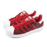 (女)ADIDAS SUPERSTAR W 休閒鞋 紅蛇紋/白-B35794