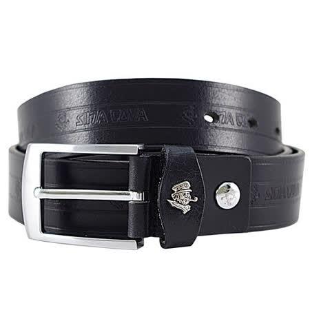 【SINA COVA】老船長壓紋LOGO牛皮休閒皮帶SC21504-1/黑色