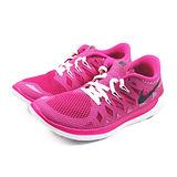 (大童)NIKE FREE 5.0 GG 慢跑鞋 桃紅/白-644446602