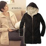 【韓系女衫】冬季保暖-日款內裡毛毛長款連帽外套(2色可選)