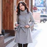 【韓系女衫】韓版修身單排扣立領羊駝毛呢長款大衣(現貨+預購)