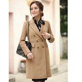 【韓系女衫】氣質時尚新款綿羊絨毛呢修身大衣