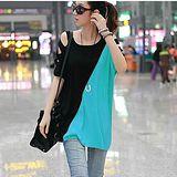 【韓系女衫 中大尺碼】時尚露肩個性蝙蝠袖寬鬆中長T恤