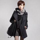 【韓系女衫】冬季款 修身羊毛大衣 加厚中長款