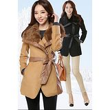 【韓系女衫】冬季新款 高貴修身拼皮大衣
