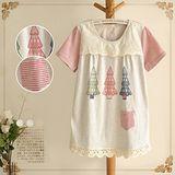【Maya Collection森林系】夏日聖誕樹印花蕾絲拼接中長版上衣
