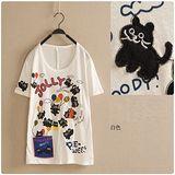 【Maya Collection森林系】黑色小貓咪的Party Time 圓領短袖T恤