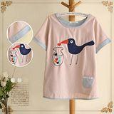 【Maya Collection森林系】儲存愛心的小鳥拼接刺繡上衣