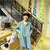 【Maya Girl】春秋(中大碼)中厚度卡其綿料日式簡約風格純色短大衣-綠灰色