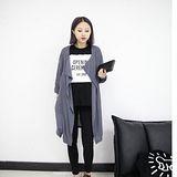 【Maya Girl】春秋(中大碼) 泡棉麻料 極柔軟 美式街頭個性休閒風格長版罩衫外套-深紫灰色