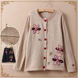 【Maya Collection】細緻綺麗花朵貼布圓領長袖毛衣外套