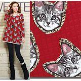 【Maya 名媛】(M~XL)雙層綿紗料 可愛貓咪臉滿版圖款 圓領長袖長版上衣-紅色(現貨加預購)