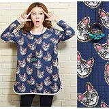 【Maya 名媛】(M~XL)雙層綿紗料 可愛貓咪臉滿版圖款 圓領長袖長版上衣-藍色(現貨加預購)