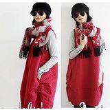 【Maya 名媛】秋冬簡約日式風格車綿料格紋款雙大口袋 圓體背心裙-紅/黑色