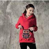 【Maya 名媛】(M~2xL) 冬季刷綿保暖 中國風刺繡動物款 立體耳朵帽T-紅色