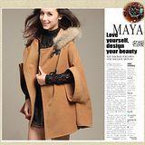 【Maya 名媛】(S~L)秋冬斗篷連帽外套 呢絨綿料 貴氣俏麗風格-駝色