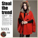 【Maya 名媛】(S~L)秋冬斗篷連帽外套 呢絨綿料 貴氣俏麗風格-紅色