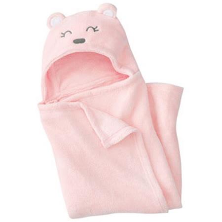 珊瑚絨動物造型連帽毛毯嬰兒包被(粉色)