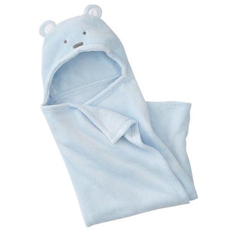 珊瑚絨動物造型連帽毛毯嬰兒包被(藍色)