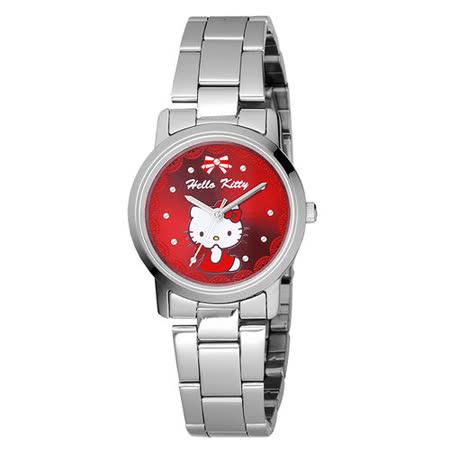 HELLO KITTY 蕾絲公主時尚腕錶-紅x銀