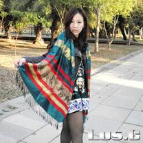 【LUS.G】東方國度-喀什米爾羊絨復古風流蘇圍巾