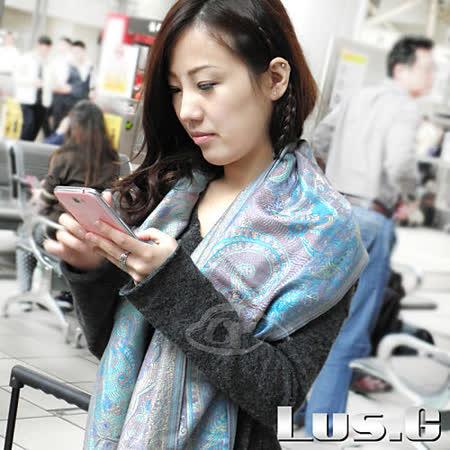 【LUS.G】繽紛花樣-喀什米爾羊絨流蘇長披肩圍巾