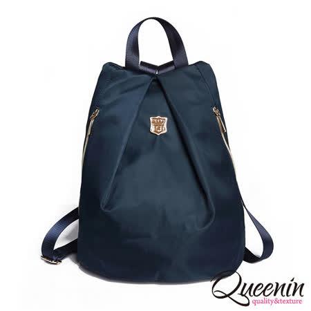 DF Queenin日韓 - 日本熱銷款百搭休閒尼龍質感後背包-藍色