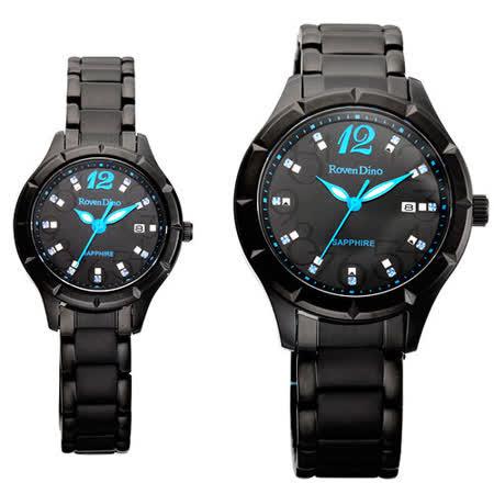 Roven Dino羅梵迪諾  典雅愛戀晶鑽日期顯示對錶-黑藍