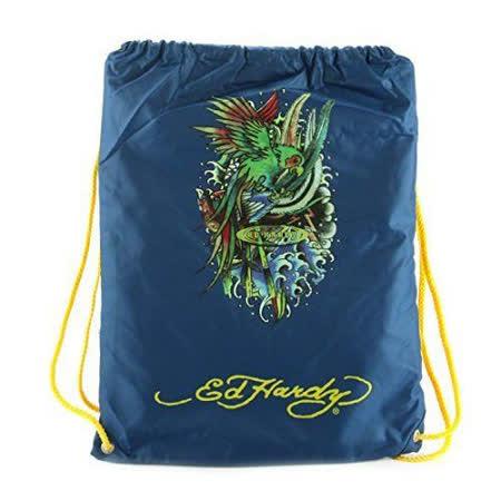 【Ed Hardy】2015時尚鸚鵡圖騰靛藍色抽繩休閒後背包【預購】
