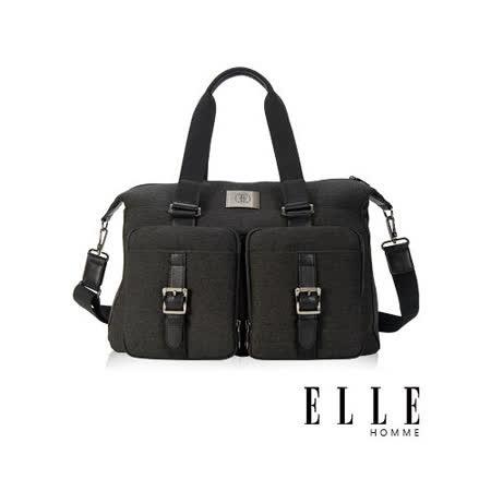 ELLE HOMME 新款上市 米蘭精品魅力II手提/側背 旅行包款-黑EL82333-02