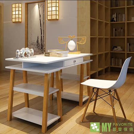 大和電腦書桌(深胡桃色/白色)