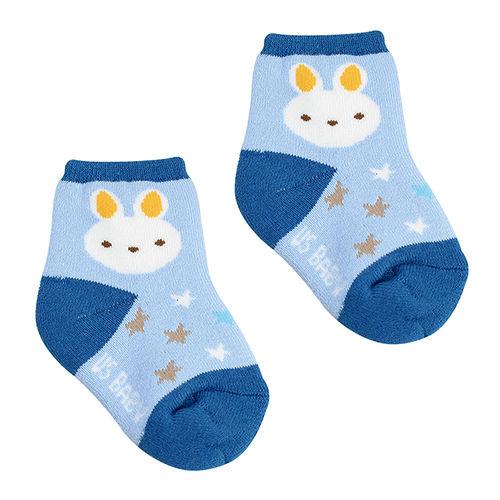 喜羊羊毛巾初生襪^(藍黃^)7~9公分