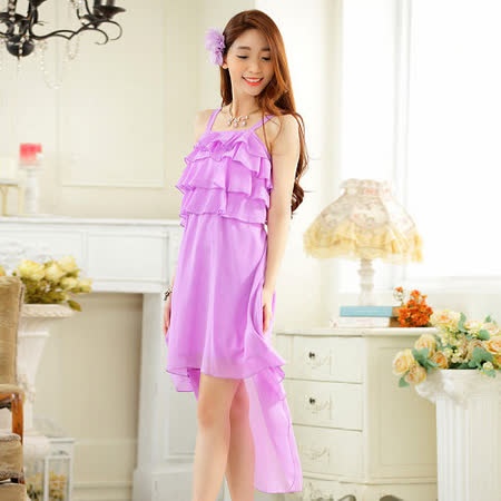 【白色戀人中大尺碼】紫色前短後長荷葉雪紡禮服