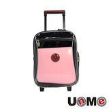 【UnME】亮面素色輕型拉桿書包(粉紅)