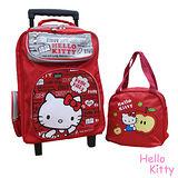 【Hello Kitty】凱蒂貓拉桿書包+便當袋(紅色)