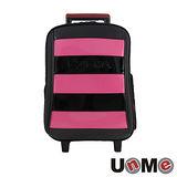 【UnME】雙色拼接條紋拉桿書包-粉紅(U3322B)