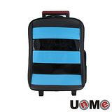 【UnME】雙色拼接條紋拉桿書包-粉藍(U3322B)