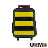 【UnME】雙色拼接條紋拉桿書包-黃(U3322B)