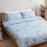 LAMINA  晨光落花-藍  雙人加大精梳棉床包被套四件組