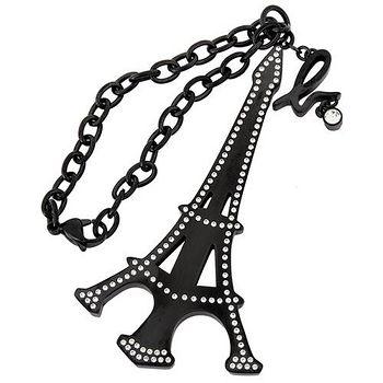 agnes b. 水鑽鐵塔吊飾 (黑)139896-83