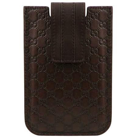 GUCCI 巧克力色雙G真皮iPhone 4/4S手機套