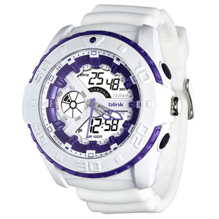 JAGA捷卡-blink AD1015-D 捍衛戰士雙顯多功能電子錶(白)