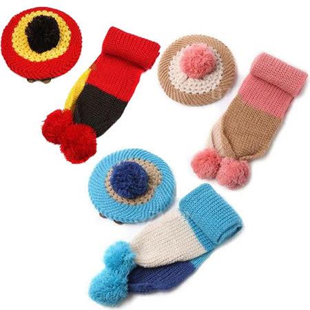 兒童米奇貝雷護耳毛線帽+針織圍巾